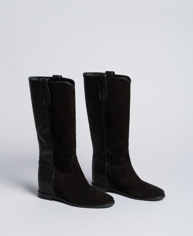 e926da2ed30f Bottines en cuir et croûte de cuir avec semelle compensée Noir Femme  CA8TCE-01