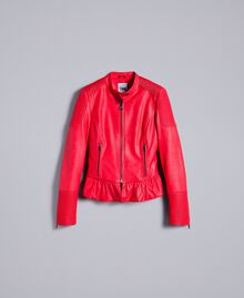 Faux leather biker jacket Poppy Red Woman JA82DG-0S