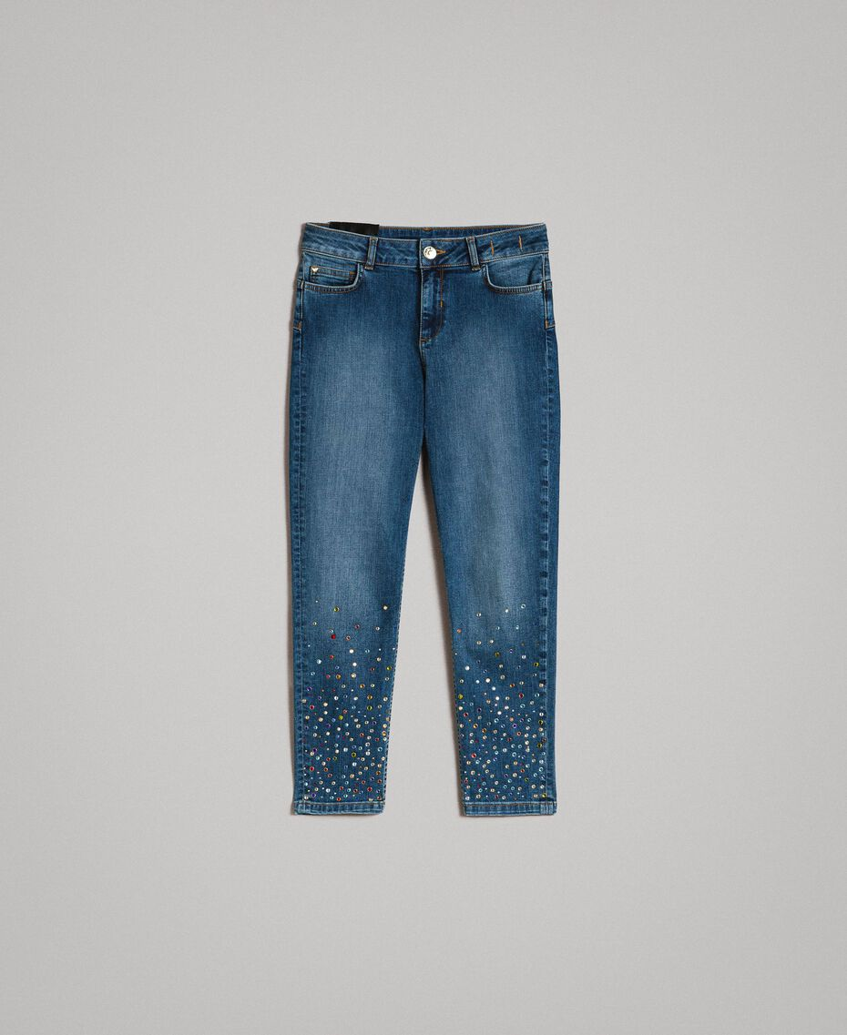 Skinny jeans with fadeout rhinestones Denim Blue Woman 191MP2421-0S