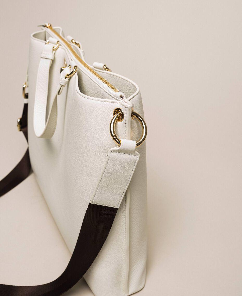 Большая кожаная сумка-шоппер с сердцем Белый Снег женщина 201TA7052-03