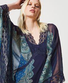 "Abito caftano con stampa foulard Stampa Foulard Cachemire ""Nautical Blue"" Donna 211TT268D-06"
