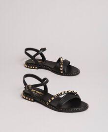 Sandalias de piel sintética con tachuelas Negro Mujer 191MCP192-01