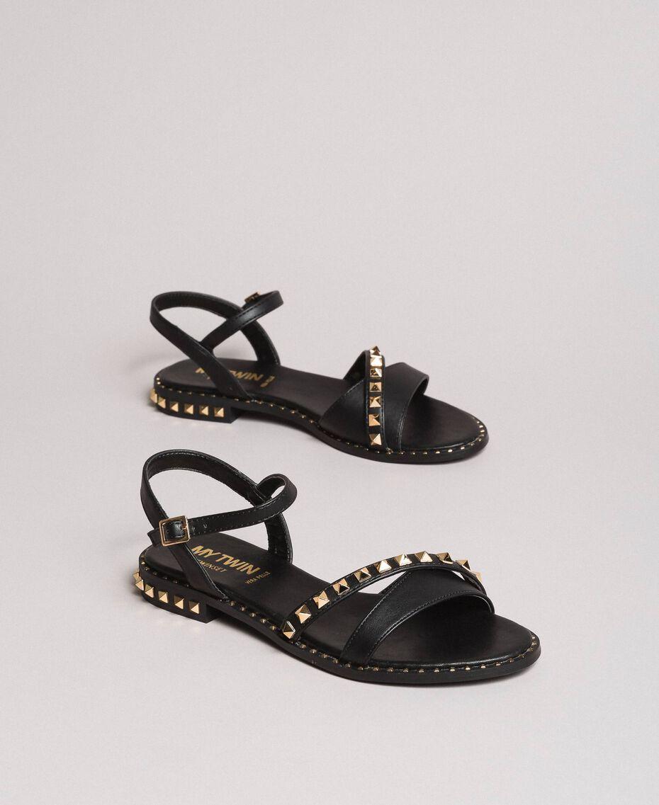 Sandales en similicuir avec clous Noir Femme 191MCP192-01