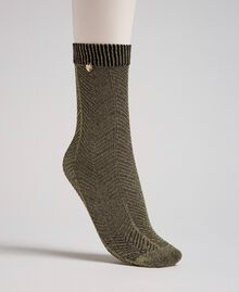 Lurex socks with logo Two-tone Black / Gold Woman 192TO5410-01