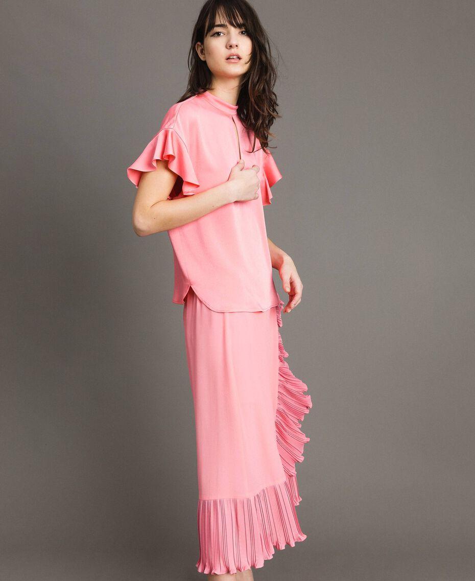 """Bluse mit Tropfenverschluss """"Wild Rose"""" Pink Frau 191TP2694-02"""