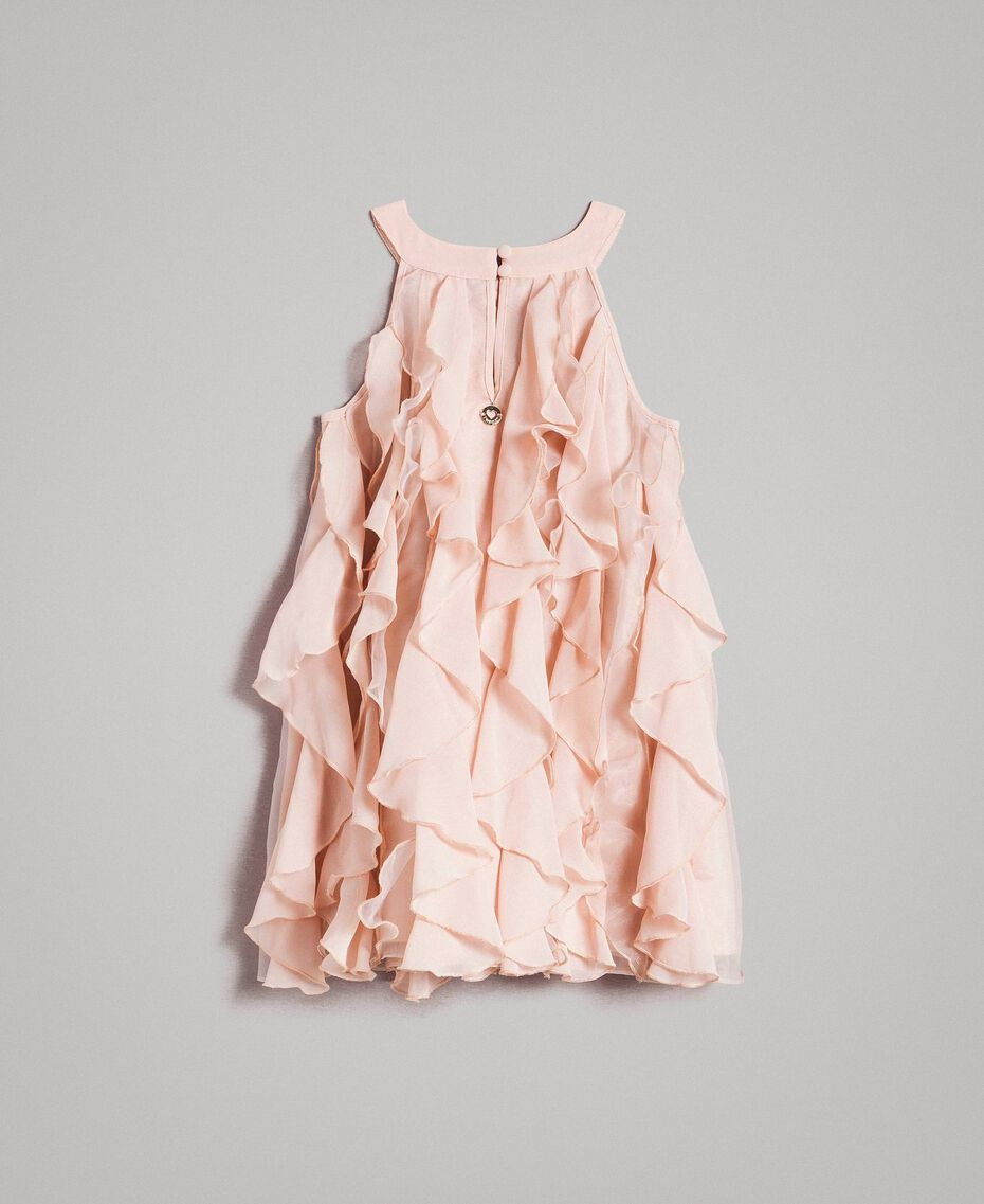 Georgette and organza dress with ruches Blossom Pink Child 191GB2QD0-0S