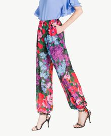 Printed jogging trousers Sixties Style Flower Print Woman TS824H-02