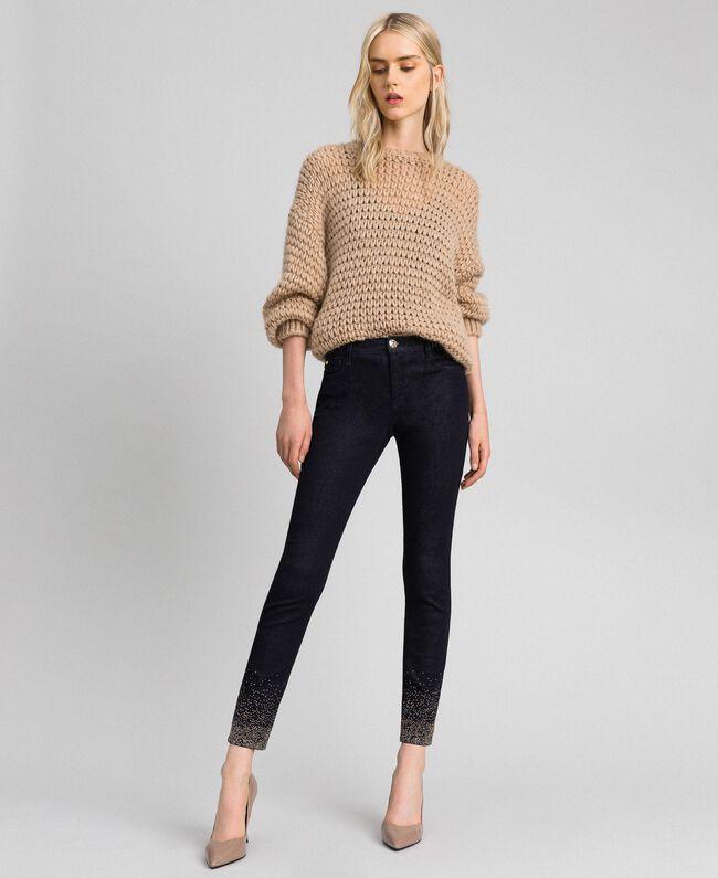 Jean skinny avec cristaux et clous Bleu Denim Femme 192MT2222-03