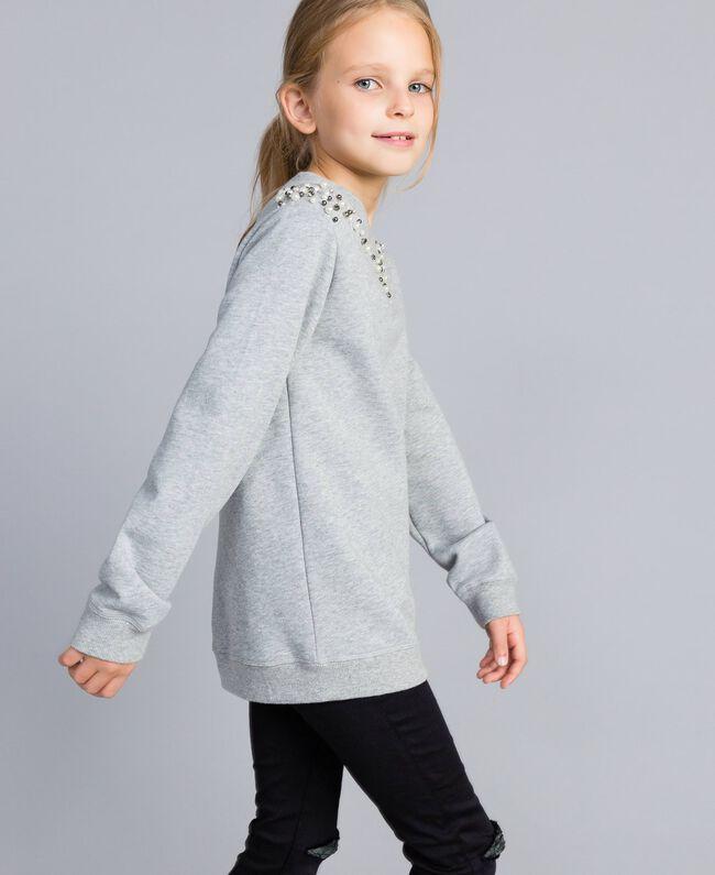 Sweatshirt aus Baumwolle mit Zierperlen und Strass Hellgrau-Mélange Kind GA82V1-03