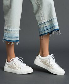 Sneakers in similpelle con strass Bianco Donna 192MCT140-0S