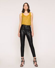 Faux leather leggings with zip Black Woman 201TP2200-0T