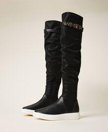 Stivali sneakers con logo Nero Donna 202TCP038-03