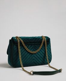 Quilted velvet shoulder bag Dark Green Woman 192TA7090-04