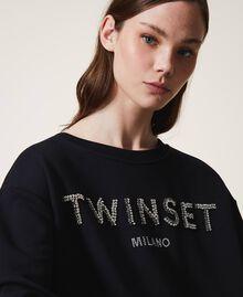 Sweatshirt mit Logo und Stickerei Schwarz Frau 202TP2660-05