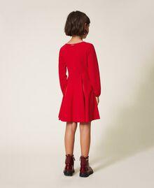 Robe avec plis et satin Rouge Cerise Enfant 202GJ2153-03