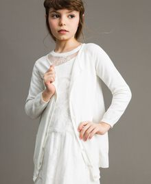 Cotton cardigan with lace Off White Child 191GJ3021-02