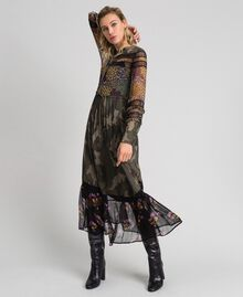 Robe longue avec imprimé camouflage et floral Imprimé Patch Fleur Camouflage Femme 192TT2120-01