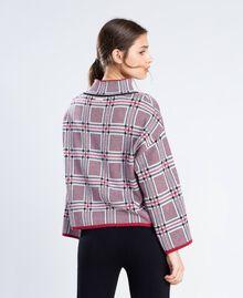 "Maxi floral print and check jacquard jumper ""Reddish"" Red Tartan Print Woman LA8NBB-03"