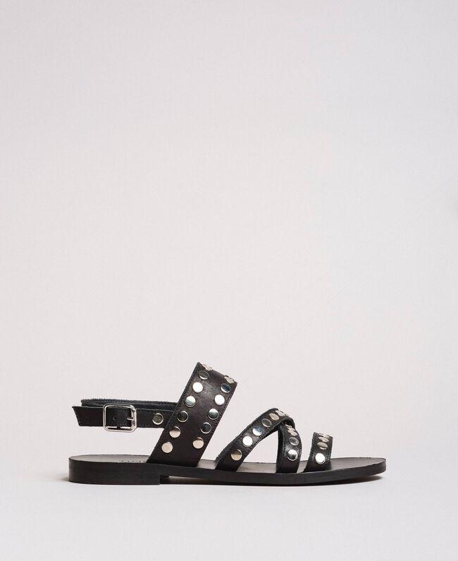 Leder-Sandalen mit Nieten Schwarz Frau 191TCP04G-01
