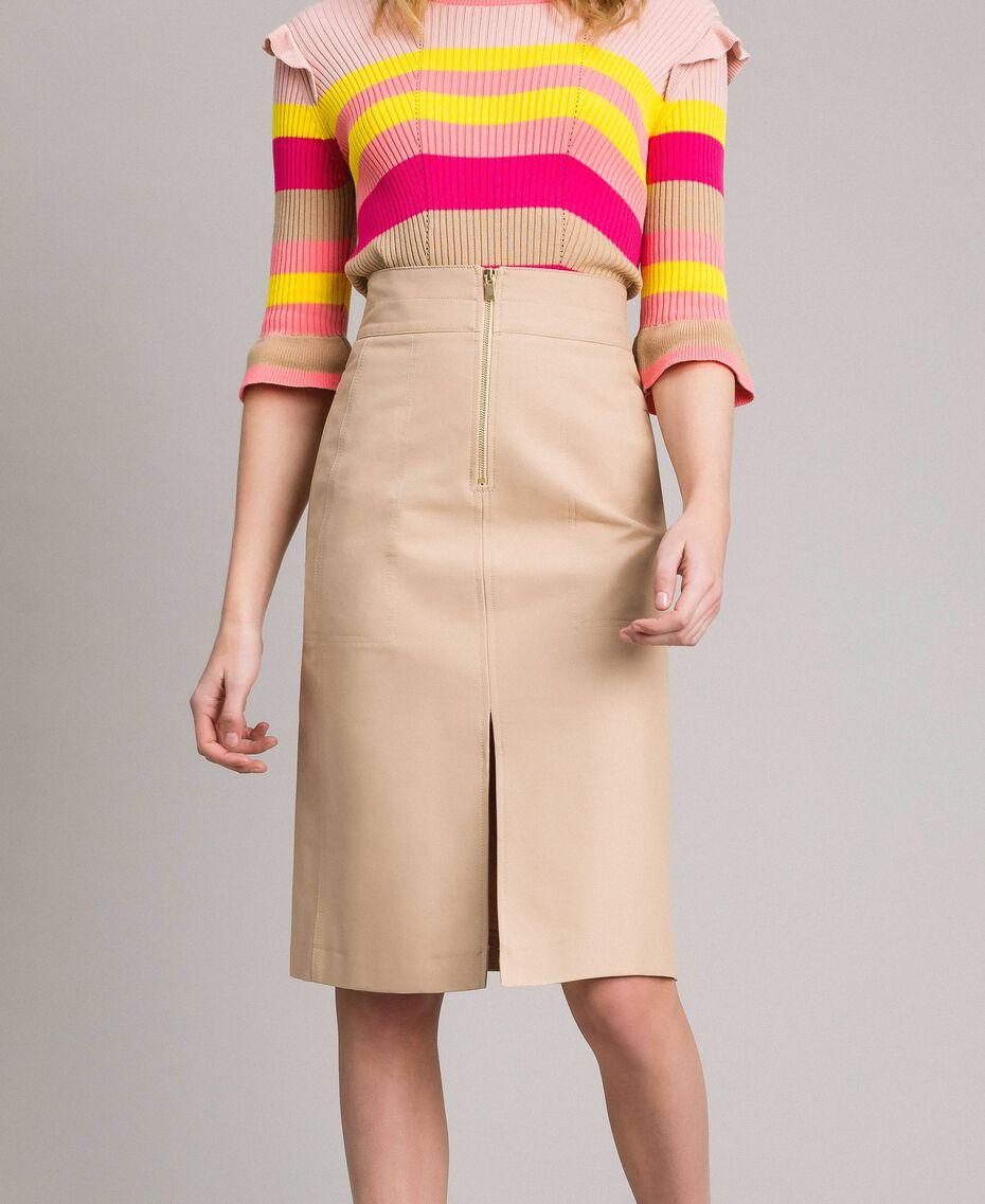 Jupe mi-longue en coton technique Beige Nougat Femme 191TP2183-01