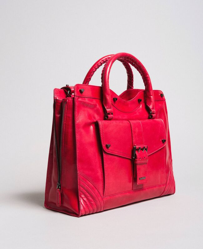 """Rebel leather shopping bag """"Ruby"""" Red Woman 191TA7235-01"""