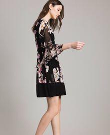"Floral print georgette dress ""Peach Mix"" Pink Black Print Woman 191TP2716-02"