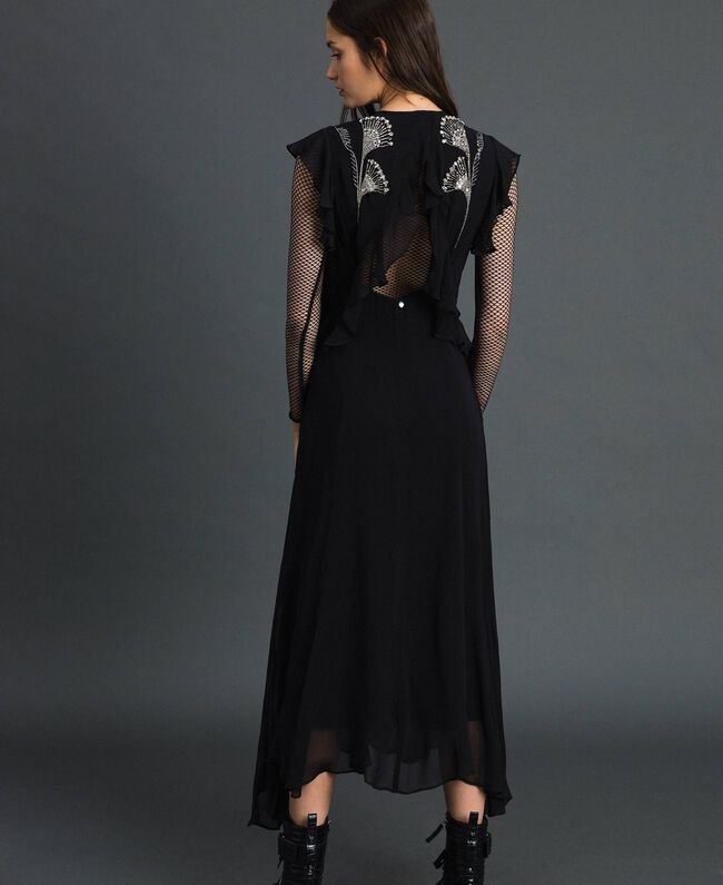 Long georgette dress with floral embroidery Black Woman 192TP2161-04