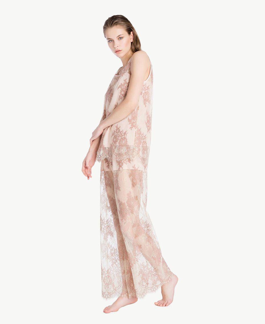 "Lace trousers ""Dusty Cream"" Beige Lace Woman LS8FEE-02"