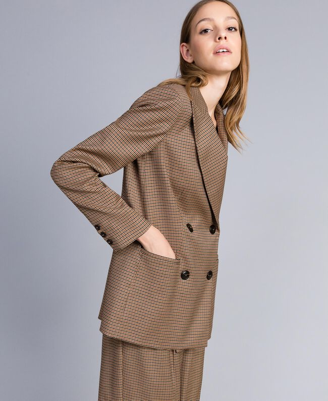 "Double-breasted wool blend jacket ""Burnt"" Orange Small Check Jacquard Woman TA821U-01"