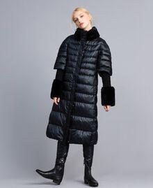 Long shiny nylon padded jacket Black Woman TA82C1-02