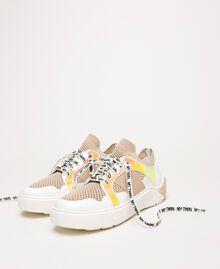 "Sneakers aus Mesh mit Detail aus Lederimitat Multicolor ""Quarz""-Rosa / Vanille / ""Iris""-Grün Frau 201MCP130-01"