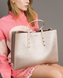 Shopper aus beschichtetem Lederimitat Roségold Frau 191TA7240-0S