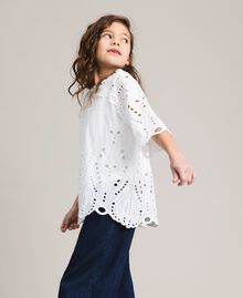 Muslin blouse with broderie anglaise embroidery White Child 191GJ2622-02