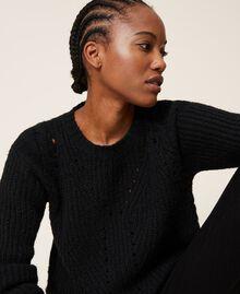 Mixed stitch work jumper Black Woman 202MP3210-04