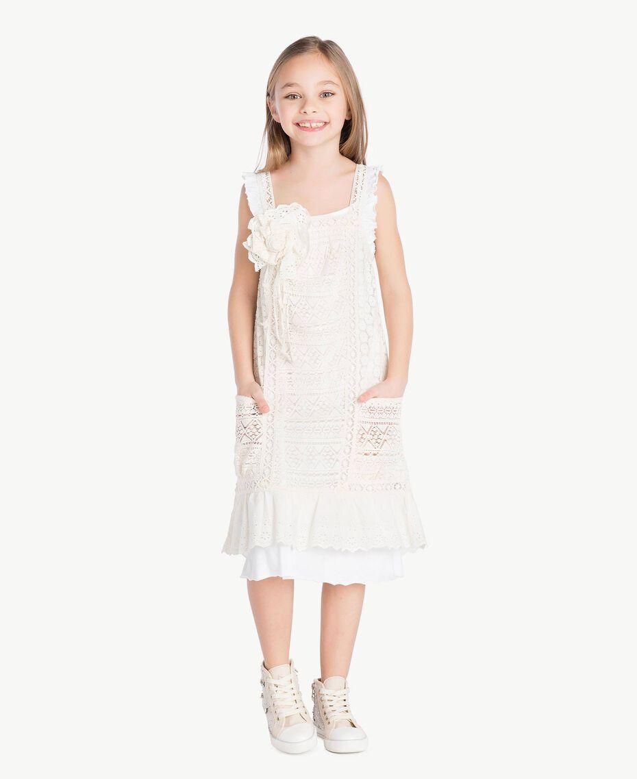 Kleid mit Spitze Zweifarbig Papyrusweiß / Chantilly Kind GS82Z3-02