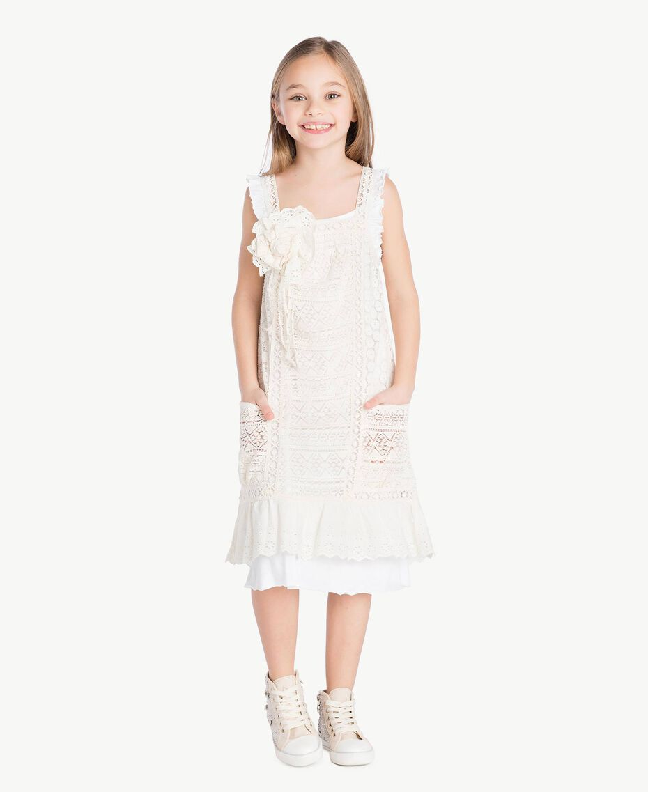 "Lace dress Two-tone ""Papyrus"" White / Chantilly Child GS82Z3-02"