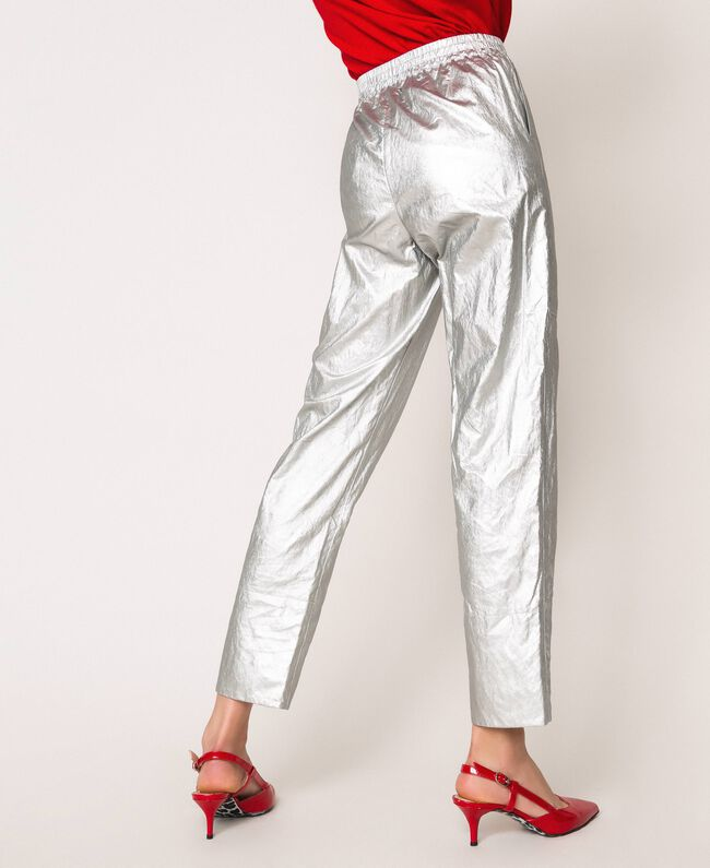 Laminated elasticated trousers Silver Woman 201TP2400-04
