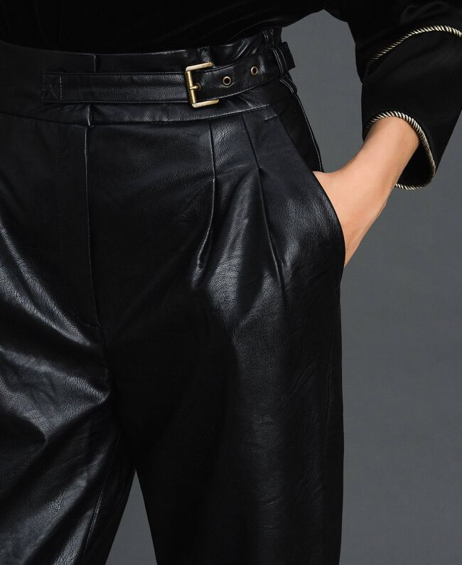 Pantaloni wide fit in similpelle Nero Donna 192TT203C-04