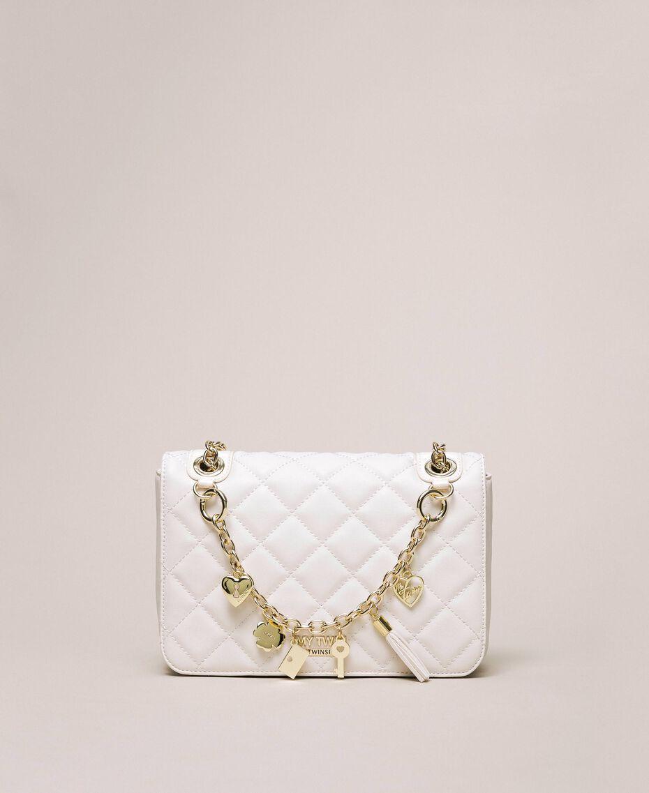 Faux leather shoulder bag with charms Quartz Pink Woman 201MA7043-01