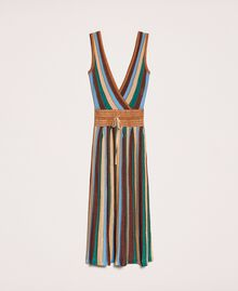 Multicolour lurex knit dress Multicolour Leather Woman 201LB3CAA-0S