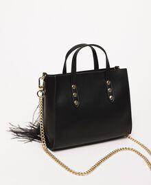 Shoulder bag with feathers and rhinestones Black Woman 201TA7192-03