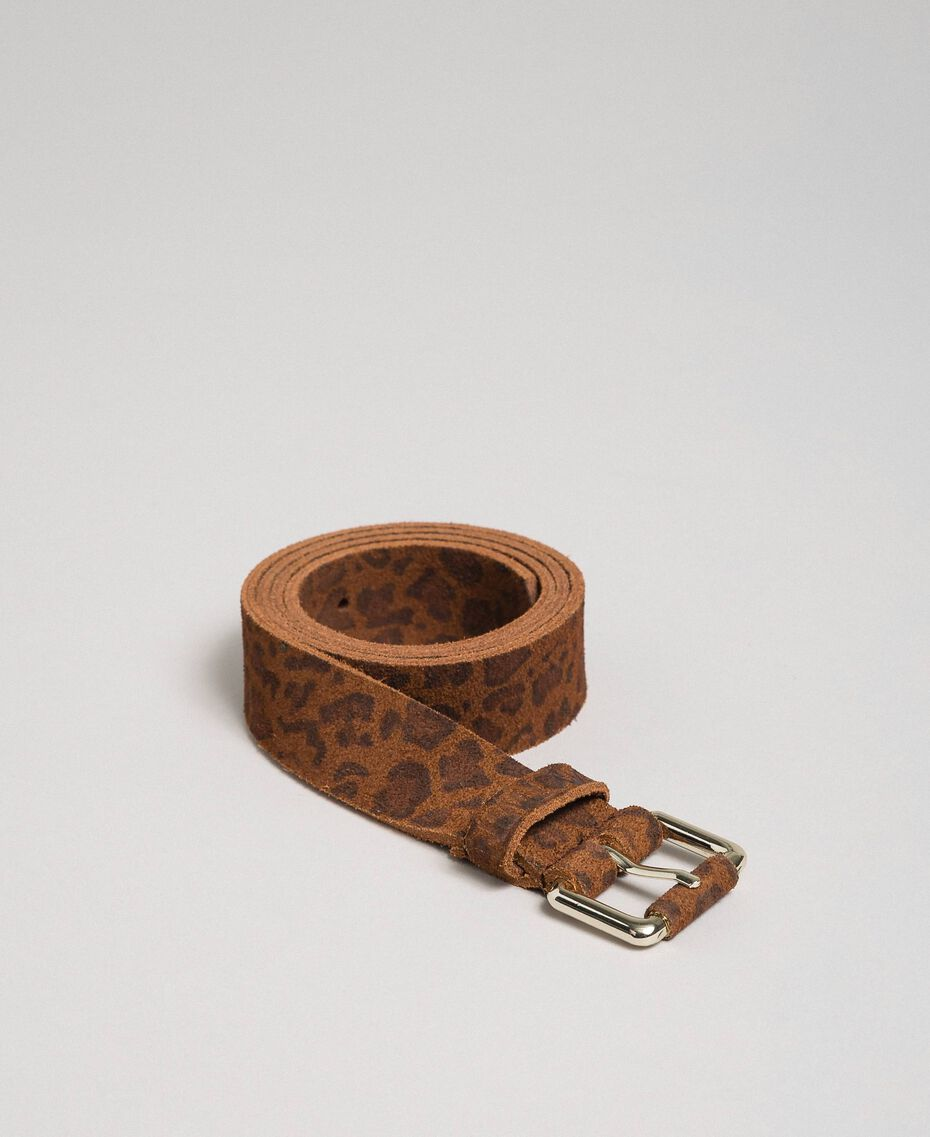 Ceinture en cuir avec imprimé animalier Imprimé Léopard Femme 192MA4340-02