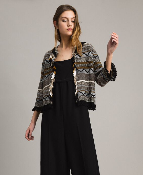 Round-neck jacket with inlay and fringes