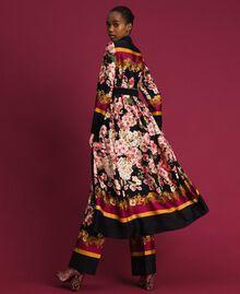 Langes Hemdblusenkleid mit floralem Foulardprint Foulardprint Frau 192TP2604-03
