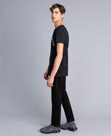 T-shirt in cotone con stampa Nero Uomo UA82GB-02