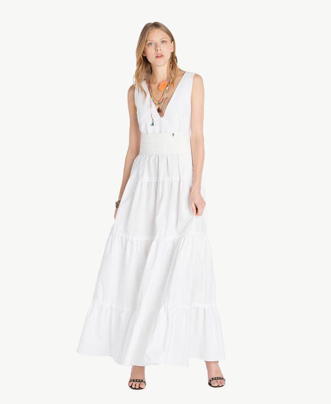Long poplin dress White Woman TS821Z-01