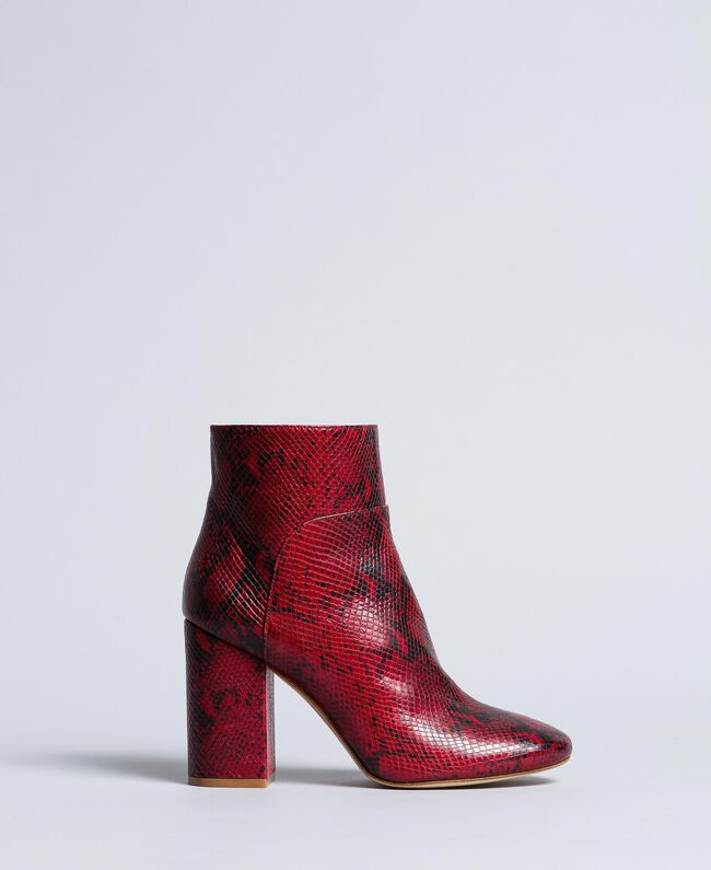 68c349a348a Animal print leather ankle boots Woman, Red | TWINSET Milano