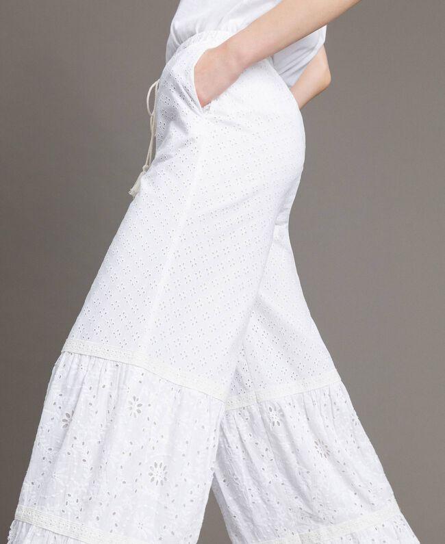 Pantalon en broderie anglaise avec cordon à la taille Blanc Femme 191MT2034-04