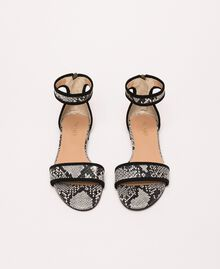 Flat leather sandals with python print Two-tone Pale Rock Python Print / Black Woman 201TCP020-05