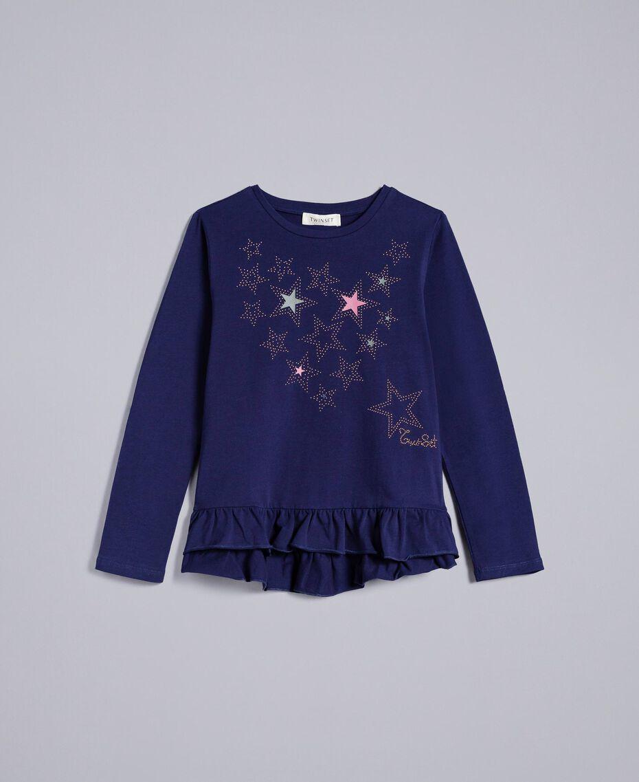 Maxi studded cotton t-shirt Blackout Blue Child GA82TG-01